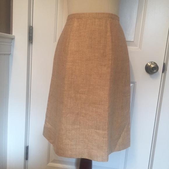 CHANEL Dresses & Skirts - ⭐️ CHANEL SKIRT A-LINE MIDI TAN LINEN 00C 38 SMALL